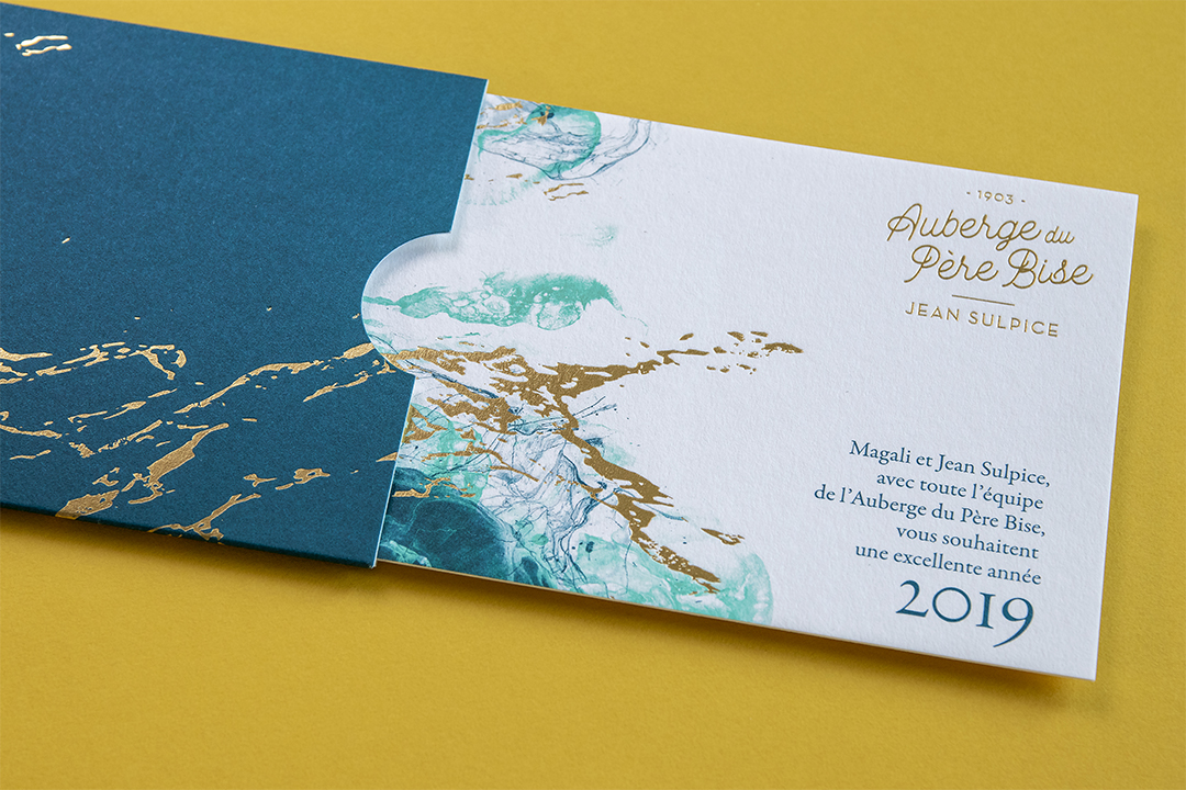 Carte de vœux dorure